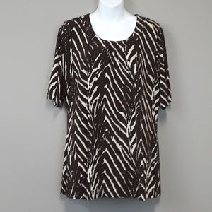 Susan Graver liquid knit printed top size Medium